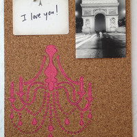 Chandelier Bulletin Memo Board, Glam Pink or Vixen Black