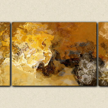 "Abstract expressionism triptych canvas print, sofa sized giclee in earth colors, ""Desert Biome"", 30x60 to 40x78"