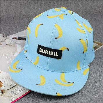 High quality fruit banana peach pineapple printing hip-hop baseball cap hat fashion burisil letter brand for men and women