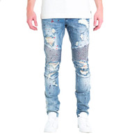Embellish NYC Susi Biker Jeans In Light Blue