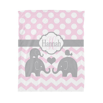 Girl Elephant Blanket, Pink Gray Baby Nursery Decor, MONOGRAM Personalized  Soft Fleece Blanket Home