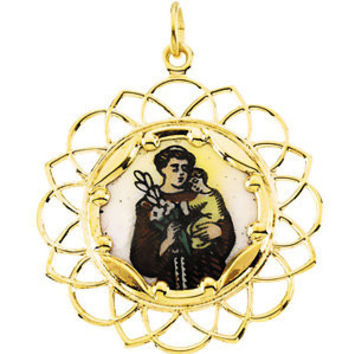 10K Yellow 26mm St. Anthony Framed Enamel Pendant