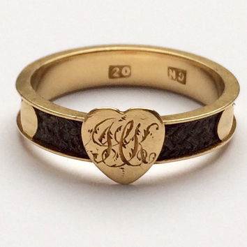 Victorian 9ct Gold and Hair Mourning Ring