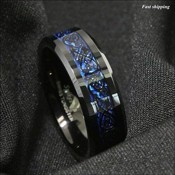 8/6mm Tungsten Carbide Ring, Black Celtic Ring