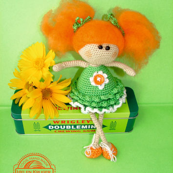 Doll Red-hair handmade crochet , angel redhead  , amigurumi , dolly fairy ,green dress, home decor orange