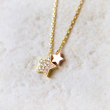 CZ and Pink Stars Necklace / choose your color / gold, silver