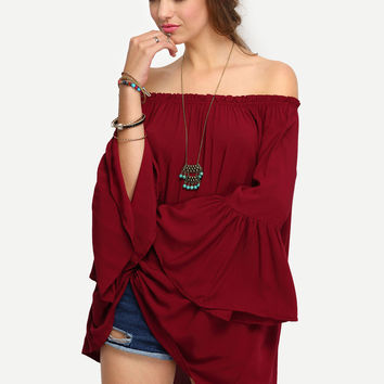 Off-The-Shoulder Bell Sleeve Blouse | MakeMeChic.COM