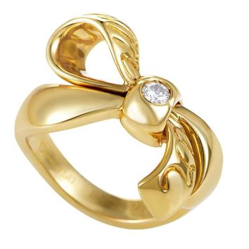 Dior Diamond Solitaire Gold Bow Ring