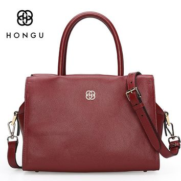 HONGU Women's Shoulder Crossbody Bag Fashion Solid Genuine Leather Women Handbags Totes bolsa Zipper Pillow Bags Female Handbag
