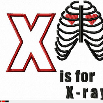 DIGITAL File D-octor Who Alphabet X is for X-Ray 4x4 5x7 ITH Machine Embroidery Design download applique