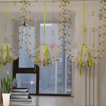 Modern Floral Tulle Window Treatments Sheer Curtains