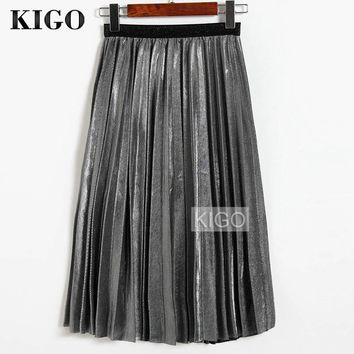 KIGO 2016 Women Metallic Silver Skirt Midi Skirt High Waist Metallic Pleated Skirt Party Club Ladies Saia Fenimias KZ2087H
