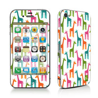 iPhone Decal Sticker, iPhone Cover, iPhone 4, iPhone 4S, PLUS Matching Wallpaper - Giraffes - Giraffe Multi Color Cute Women Men Teen