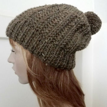 FREE SHIPPING,Hand Knitted Men Hat in Brown Coffee,Knitted Women Hat,Handmade Thick Hat,Winter Beanie,Knit Women Accessory,Unisex Woolen Hat