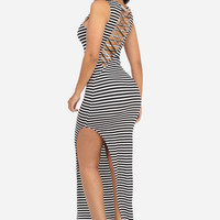 Cotton Black Striped Maxi Dress with Side Slit
