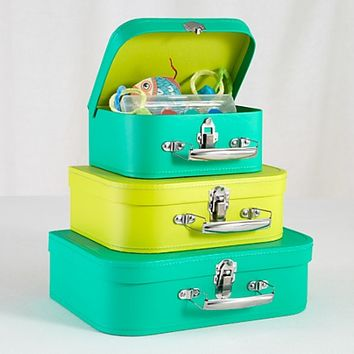 Kids Storage: Green and Lime Storage Suitcases | The Land of Nod