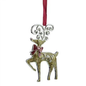 "3.75"" Regal Shiny Silver-Plated Gold Glitter ""Joy"" Reindeer Ornament with European Crystals"