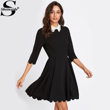 Sheinside Contrast Eyelet Party Dress Black Collar Scalloped Pleated Dress Ladies 3/4 Sleeve Elegant Skater Dress