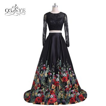 2017 New Fashion Floral Flowers Pattern Print Two Piece Prom Dresses Robe de Soiree Open Back Lace Top Formal Evening Party Gown