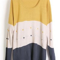 Round Neck Dot Yellow Sweater  S001684