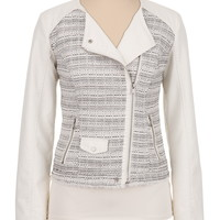 Textured Tweed and Faux leather Moto jacket