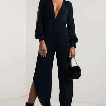 AKIRA Long Open Sleeve Plunging Neckline Open Back Split Leg Glitter Jumpsuit in Blue Black