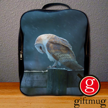 Barn Owl Tyto Alba in Snow Backpack for Student