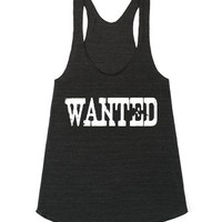WANTED White 4 American Apparel Racerback-Athletic Tri Black Tank