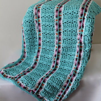 Afghan - Handmade Crochet Large Panel Blanket - Aqua with a Coordinating Multi Yarn Cozy Throw