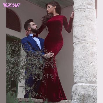 Couture Wine Red Full Sleeve Mermaid Prom Dresses Long Boat Neck Velour Rhinestones Zipper Back Bottons Evening Gown