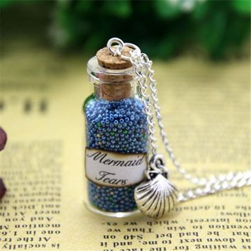 12pcs Mermaid Tears Magical Bottle Necklace with Sea Shell Charm Pirates of the Caribbean Stranger Tides necklace in silver