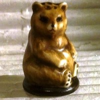 Brown Bear Vintage Franklin Mint FP Friends of the Forest Thimble Porcelain 1982