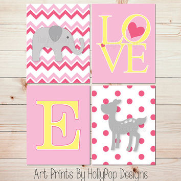 Nursery Wall Art Elephant Nursery Art Prints Fawn Baby Deer Nursery Wall Art LOVE typography Pink Nursery Wall Decor Baby Girl Nursery #1094