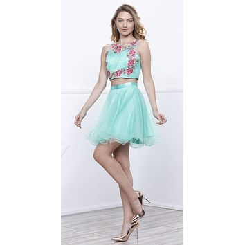 Short Two-Piece Prom Dress Embroidered Crop Top Mint Green