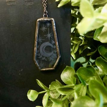 Etched Glass Coffin Moon Necklace