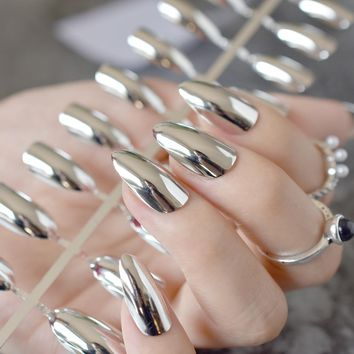 Mirror Silver False Nails STILETTO Point Metallic Acrylic Nail Tips 24pcs/kit Easy for Daily wear