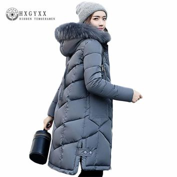 2017 Long Thick Warm Winter Coat Women Fur Fashion Plus Size Solid Color Hooded Quilted Jackets Female Padding Slim Parkas O1