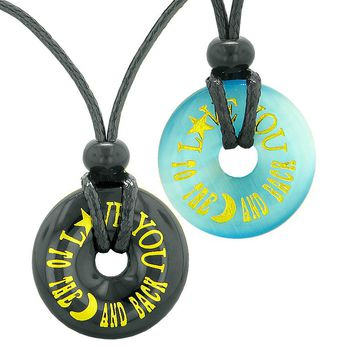 Love You to the Moon and Back Couples Best Friends Amulets Blue Simulated Cats Eye Agate Necklaces
