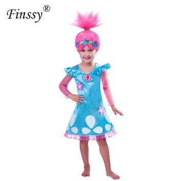 Trolls Fairy Princess Cosplay Costume Children Blue Gauze Dress Beautiful Gift For Girl