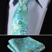 "TF2005Q7 Aqua Green skinny floral 2.75"" 100%Silk Woven Slim Skinny Narrow Men Tie Necktie Handkerchief Pocket Square Suit Set"