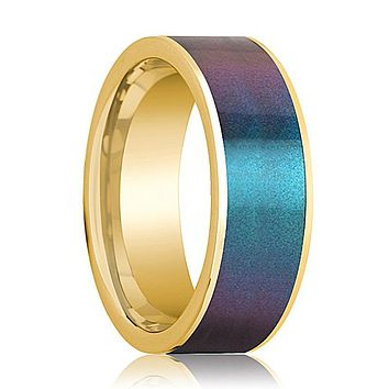 Mens Wedding Band 14K Yellow Gold with Blue/Purple Color Changing Inlaid Flat Polished Design