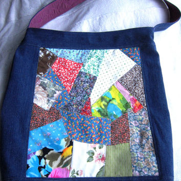 Cotton Denim Tote Bag, Shopping Bag, Handmade from Repurposed Fabric, One of a Kind, Crazy Quilt Style, Project Bag, Beach Bag