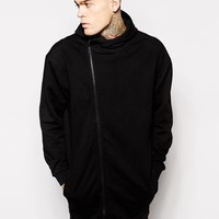 ASOS Super Longline Oversized Hoodie With Asymmetric Zip at asos.com