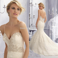 Discount New Spring Design Appliques Lace with Beadings Floor Length Organza Spaghetti Straps Wedding Dresses Mermaid 2016