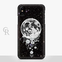 Moon Phone Case For iPhone 8 iPhone 8 Plus - iPhone X - iPhone 7 Plus - iPhone 6 - iPhone 6S - iPhone SE - Samsung S8 Planets Nasa Floral