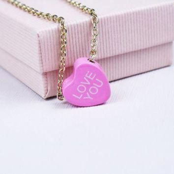 CREYON vintage conversation heart necklace love you valentine s