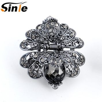 Sinle Vintage 3 Color Big Crystal Flower Hair Claws Wedding Hair Clip Women Hair Jewelry With Charm Ancient Silver Hair Accessor