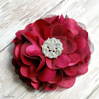 Burgundy Flower Hair Clip, Fabric Flower Fascinator Clip, Wedding Accessories by Flower Couture