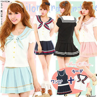 Rakuten: Color contrast sailor neckband cardigan + pleats dress- Shopping Japanese products from Japan