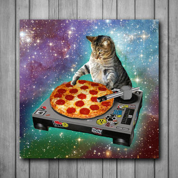 DJ Pizza Cat Photo Panel - Durable Finish - High Definition - High Gloss